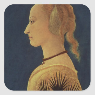 Portrait of a Lady in Yellow, c.1465 Square Sticker