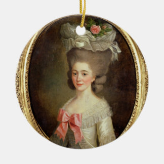 Portrait of a Lady (oil on canvas) Round Ceramic Decoration