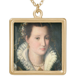 Portrait of a Lady (oil on panel) 2 Gold Plated Necklace