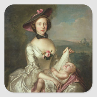 Portrait of a Lady, said to be Elizabeth, wife of Square Sticker