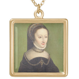 Portrait of a lady, said to be Jeanne d'Albret, mo Gold Plated Necklace