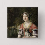Portrait of a Lady Wearing a Red and White Dress 15 Cm Square Badge