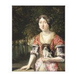 Portrait of a Lady Wearing a Red and White Dress Canvas Print