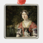 Portrait of a Lady Wearing a Red and White Dress Christmas Ornament