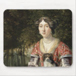 Portrait of a Lady Wearing a Red and White Dress Mouse Mat