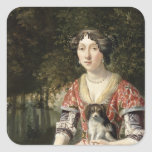 Portrait of a Lady Wearing a Red and White Dress Square Sticker