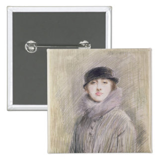 Portrait of a Lady with a Fur Collar and Muff 15 Cm Square Badge