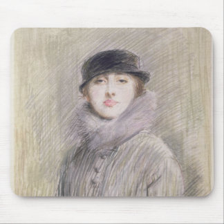 Portrait of a Lady with a Fur Collar and Muff Mouse Mat