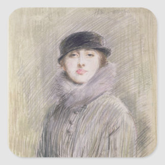 Portrait of a Lady with a Fur Collar and Muff Square Sticker