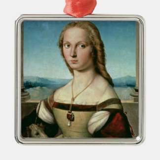 Portrait of a Lady with a Unicorn, c.1505-6 Silver-Colored Square Decoration