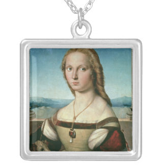 Portrait of a Lady with a Unicorn, c.1505-6 Silver Plated Necklace