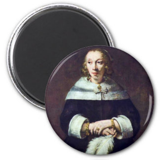 Portrait Of A Lady With An Ostrich-Feather Fan [1] 6 Cm Round Magnet