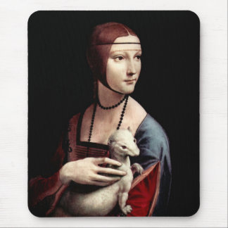 Portrait of a Lady with Ermine (a ferret) Mouse Mat