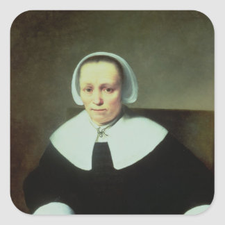 Portrait of a Lady with White Collar and Cuffs Square Sticker
