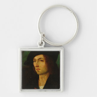 Portrait of a Man, 1506 (oil on panel) Silver-Colored Square Key Ring