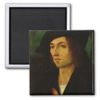 Portrait of a Man, 1506 (oil on panel) Square Magnet