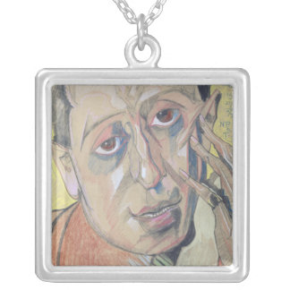 Portrait of a man, 1924 silver plated necklace