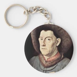 Portrait Of A Man By Garofano By Eyck Jan Van (Bes Basic Round Button Key Ring