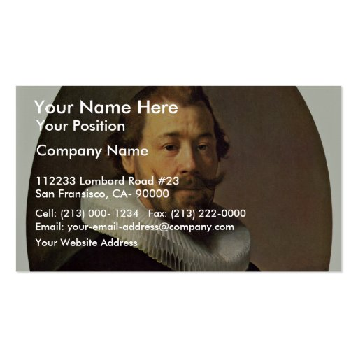 Portrait Of A Man. By Workshop Of Rembrandt Business Card Templates