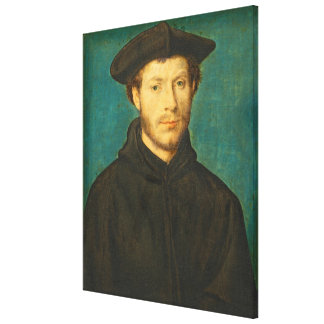 Portrait of a Man, c. 1536- 40 (oil on walnut) Canvas Print