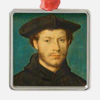 Portrait of a Man, c. 1536- 40 (oil on walnut) Christmas Ornament