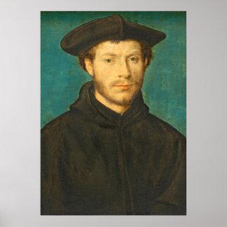 Portrait of a Man, c. 1536- 40 (oil on walnut) Poster
