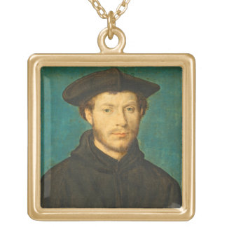 Portrait of a Man, c. 1536- 40 (oil on walnut) Square Pendant Necklace