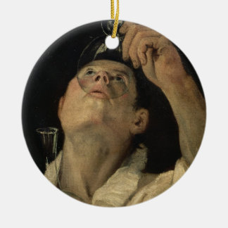 Portrait of a Man Drinking, c.1581-4 (oil on canva Round Ceramic Decoration