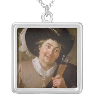 Portrait of a Man Holding a Wine Glass Silver Plated Necklace