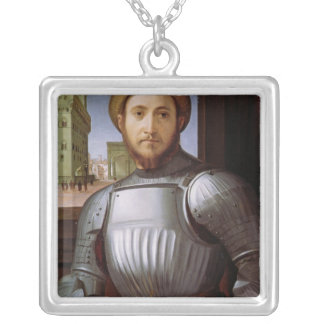 Portrait of a Man in Armour Silver Plated Necklace