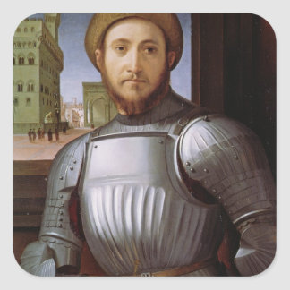 Portrait of a Man in Armour Square Sticker