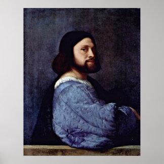 Portrait of a Man L Ariosto by Tiziano Vecelli Posters