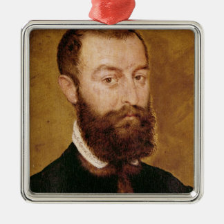 Portrait of a Man with a Beard Silver-Colored Square Decoration