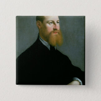 Portrait of a man with a ginger beard 15 cm square badge