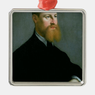 Portrait of a man with a ginger beard Silver-Colored square decoration