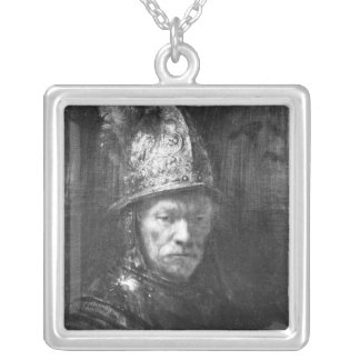 Portrait of a Man with a Golden Helmet, 1648 Silver Plated Necklace