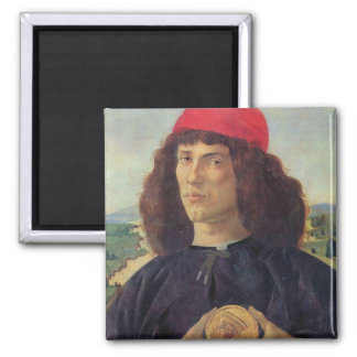Portrait of a man with a medal of Cosimo the Elder Square Magnet