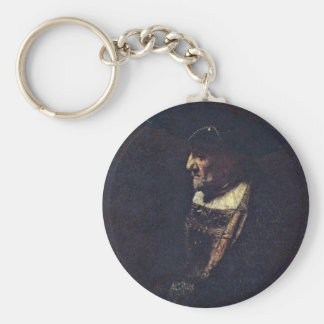 Portrait Of A Man With Beads In His Hat Key Chain