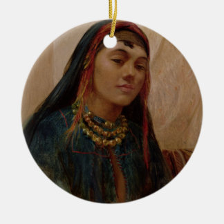 Portrait of a Middle Eastern Girl, c.1859 (oil on Christmas Ornament