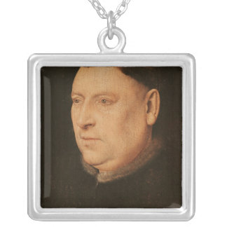 Portrait of a Monk Silver Plated Necklace