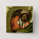 Portrait of a Moor holding a flag at a window 15 Cm Square Badge