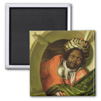 Portrait of a Moor holding a flag at a window Square Magnet