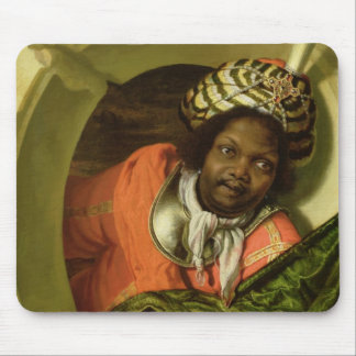 Portrait of a Moor holding a flag at a window Mouse Pad