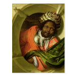 Portrait of a Moor holding a flag at a window Postcard