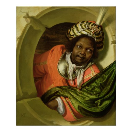 Portrait of a Moor holding a flag at a window Poster