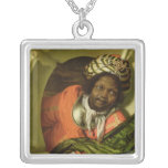 Portrait of a Moor holding a flag at a window Silver Plated Necklace