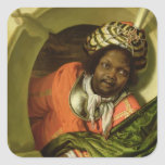 Portrait of a Moor holding a flag at a window Square Sticker