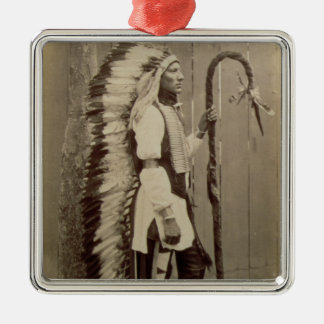 Portrait of a Native American from 'Buffalo Bill's Silver-Colored Square Decoration