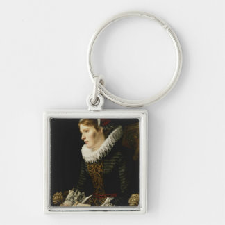 Portrait of a Noble Woman Silver-Colored Square Key Ring