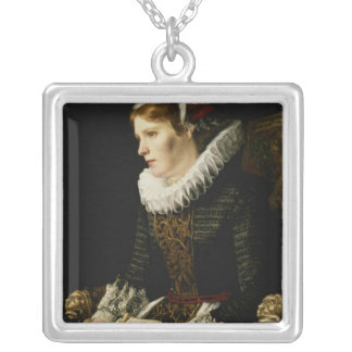 Portrait of a Noble Woman Silver Plated Necklace